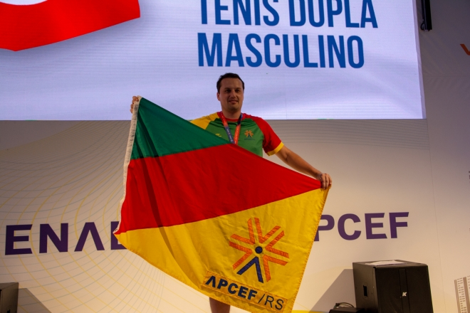 Ritter, do tênis individual masculino. Jogos Fenae 2018. Foto: Nilo Motta