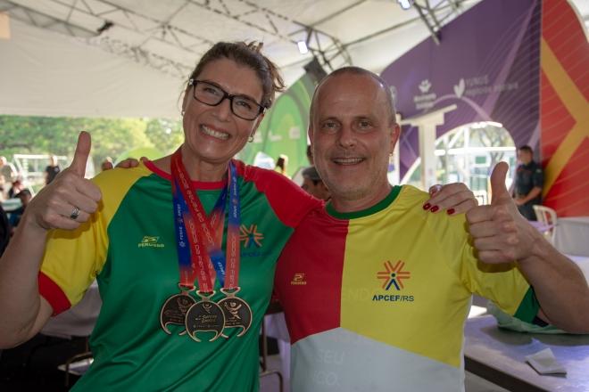 Ballico (E) conquistou três medalhas. Jogos Fenae 2018. Foto: Nilo Motta